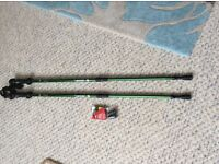 2 power walking pole sticks with spare ends in ex condition