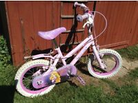 "Girls 14"" Disney princess bike with stabilisers"