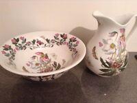 portmeirion tea pot, milk jug, sugar bowl,tray,large vase, pitcher &bowl