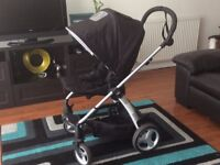 Mamas & Papas black pram/pushchair/stroller with carry cot