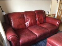 Sofa Leather 3 seater 1 matching armchair + footstool