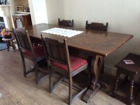 Antique solid oak refectory table and four chairs, excellent condition-reduced to £310!