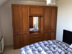 Large Double Wardrobe with Mirror, Drawers and Overhead Compartment