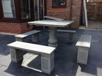 Granite garden table with 4 benches
