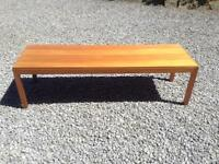 Oblong pine low coffee table