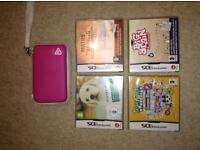 Brand new pink DSI case and 4 games