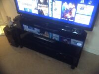 """TV stand black glass for up to 60"""" TV"""