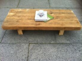 coffee table super chunky solid heavy from reclaimed wood rustic look shabby chic