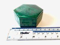Malachite Jewellery Trinket Box - Hexagonal - Congo - 225g - 7.8x6.7x3.2cm M3