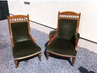 King and Queen Antique Armchairs / Thrones