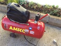 Amico 50 litre electric lubricated air compressor 94 dB easy transported good condition.