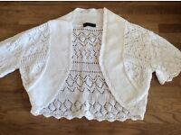 Girls White Crochet Bolero Age 10 Years