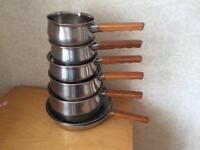 6 Prestige stainless steel copper bottom Pans
