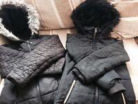 Black School Coats x2 Age 7/8 and 8/9