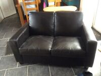 Small black leather 2 seater settee