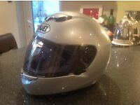Silver Shoei Raid 2 full face motorcycle crash helmet