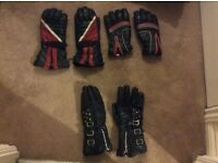 Motorcycle gloves - Three pairs in used condition