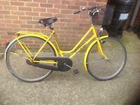 Vintage Ladies Step Through Yellow Bike with Basket