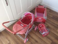 Greco dolls pram, matching dolls car seat & cot. Very good condition.