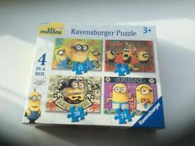 4x Minions jigsaw puzzles in a box