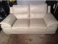 Cream leather two seat couch excellent condition