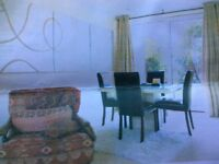 TABLE AND CHAIRS TRAVERTINE MARBLE Barker&Stonehouse with 4 leather chairs