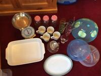Job lot/bundle of kitchen items, mugs,cups,saucers,scales,jars,food covers,plate,dish - only £10!