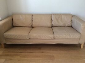 3 Seater Leather Sofa Sand / Caramel Colour