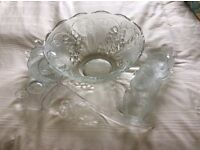 Glass punch bowl, 12 glass cups, hooks and ladle. Perfect