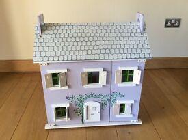 Pretty Lilac Wooden Dolls House. VGC