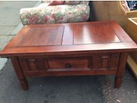 Wooden coffee table / with drawer