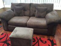 Two 2 seater sofas & storage buffie