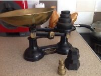 Old weighing scales with weights