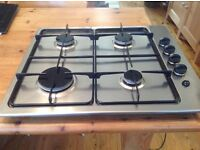Moffat stainless gas hob,four burners,black control knobs burner caps and pan supports,easy to clean