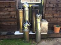 Twin Wall Stainless steel flue in various sections. Approx 4 metres in height