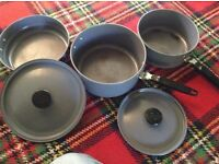 Compactable camping pan set and whistling kettle with 2 gas cylinder valves