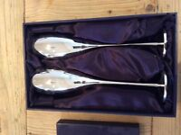 Decorative pewter champagne flutes x 2 boxed unused great Christmas present