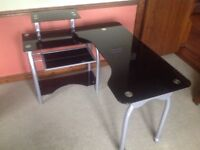 Black Glass desk and black height adjustable swivel office chair