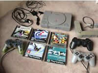 Playstation 1 with Games & 4-way splitter