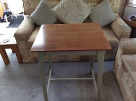 Tall table polished wood top grey Matt painted legs. Handy for kitchen hallway