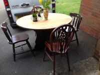 QUALITY OAK DROP LEAF TABLE AND FOUR SOLID WOOD CHAIRS-CAN DELIVER