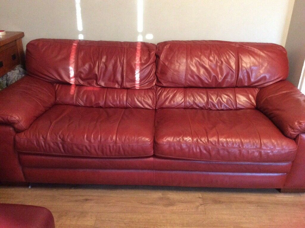 Reduced For Quick Sale 2x Leather Sofa Furniture Village Carolina