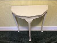 SMALL HALL TABLE IN CREAM DISTRESSED WOOD EFFECT. AS NEW