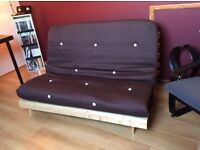 Futon - pine base with chocolate brown cover