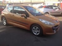 PEUGEOT 207 SPORT 1.4 2007 plate only 71000 miles PSH MOT ONE YEAR alloys metallic gold/yellow