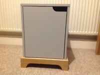 Grey and oak bedside cabinet