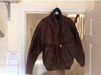 Men's Brown Leather Bomber Jacket