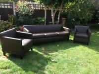 BROWN 3 SEATER AND CHAIRS