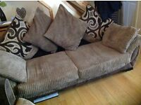 3 seater scatter back sofa settee with large swivel chair. Good used condition