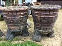 Two very heavy concrete planters